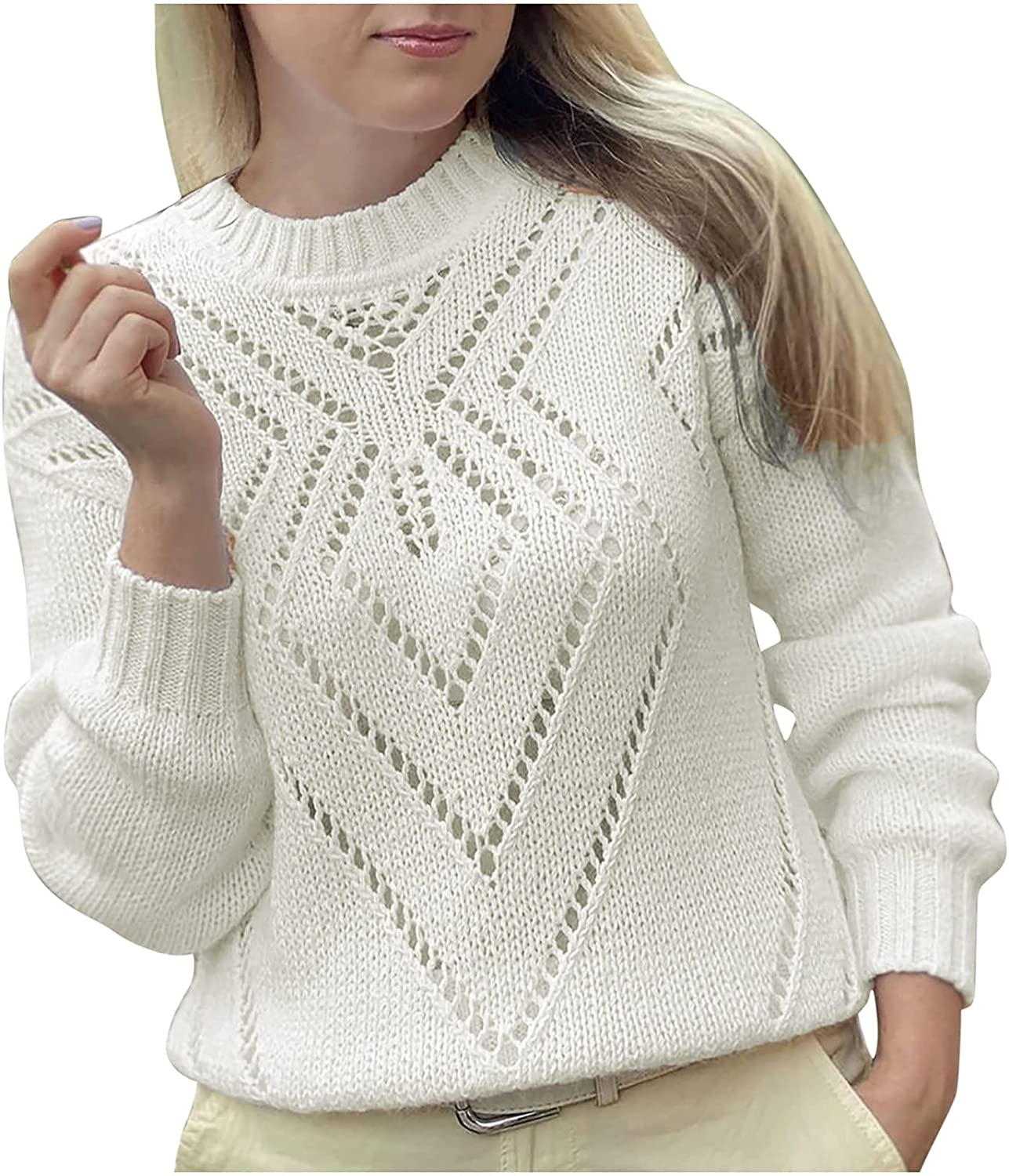 Womens Casual Loose Knitted Sweater Solid Lantern Long Sleeve Crew Neck Fashion Comfy Pullover Tops