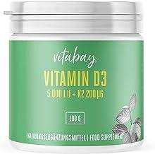 Vitamina D3 5.000 I.U + Vitamina K2 Menaquinona Mk7 200 mg, Polvo Vegano 365, Porciones sin Cápsulas