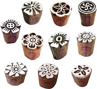 طوابع طباعة صلصال فنية صغيرة على شكل زهور مكعبات خشبية (مجموعة من 10)