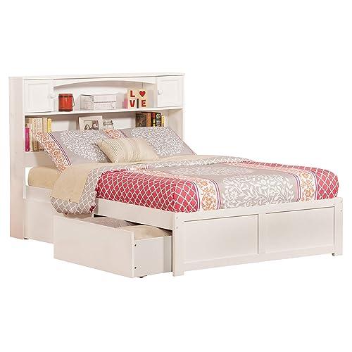 94d5f3845fe3 Atlantic Furniture AR8532112 Newport Platform 2 Urban Bed Drawers, Full,  White