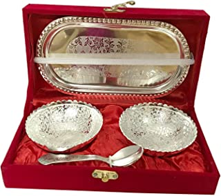 Handmade Designer 2 Bowls 2 Spoons 1 Tray with Comes with Gift Pack use for Dry Fruits, Gifting Purposes on Wedding Aniver...
