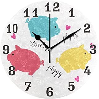 AUUXVA BIGJOKE Cute Pig Pattern Colorful Round Acrylic Wall Clock, Silent Non Ticking Art Painting Clock for Kids Girls Children Bedroom Living Room School Home Decor