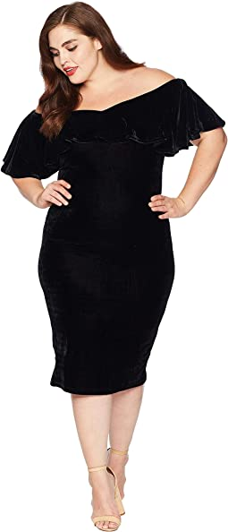 Plus Size Velvet Draped Off Shoulder Sophia Wiggle Dress
