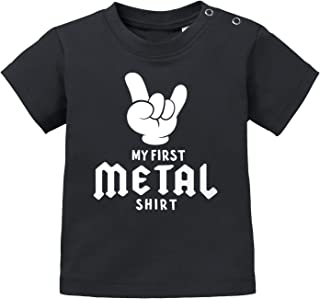 MoonWorks Baby T-Shirt Kurzarm Babyshirt My First Metal Shirt Hardrock Heavy Metal Jungen Mädchen Shirt
