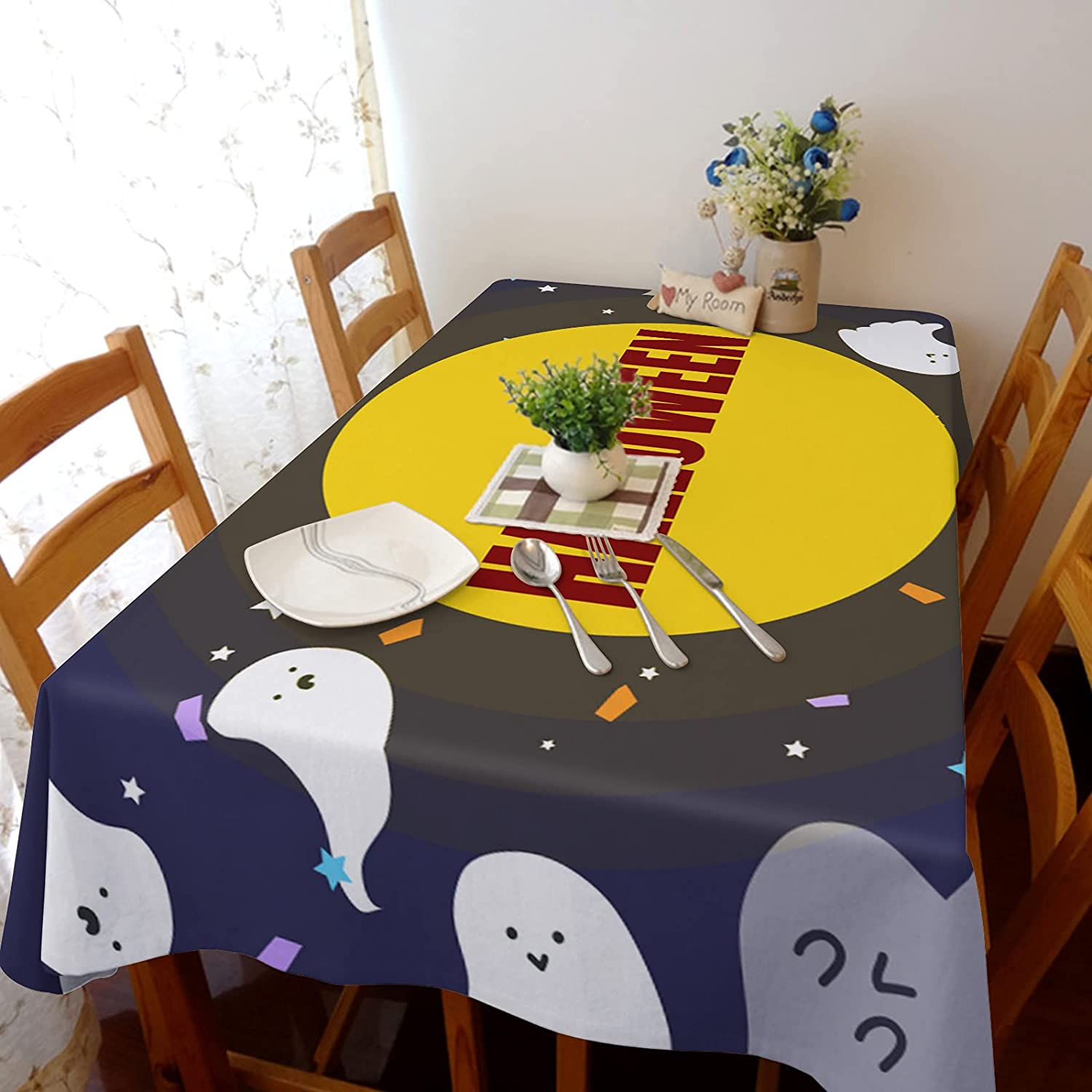 Special price for a limited time Flouky Halloween Style Max 50% OFF Big Full Ghost Tablecl and Rectangle Moon