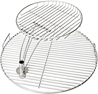 Onlyfire 21.5'' Universal Stainless Steel Cooking Grate Grid Combo Fits for Most 22 Inch Charcoal Kettle Grills
