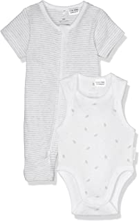 Purebaby S/Slv Growsuit Bodysuit Pack