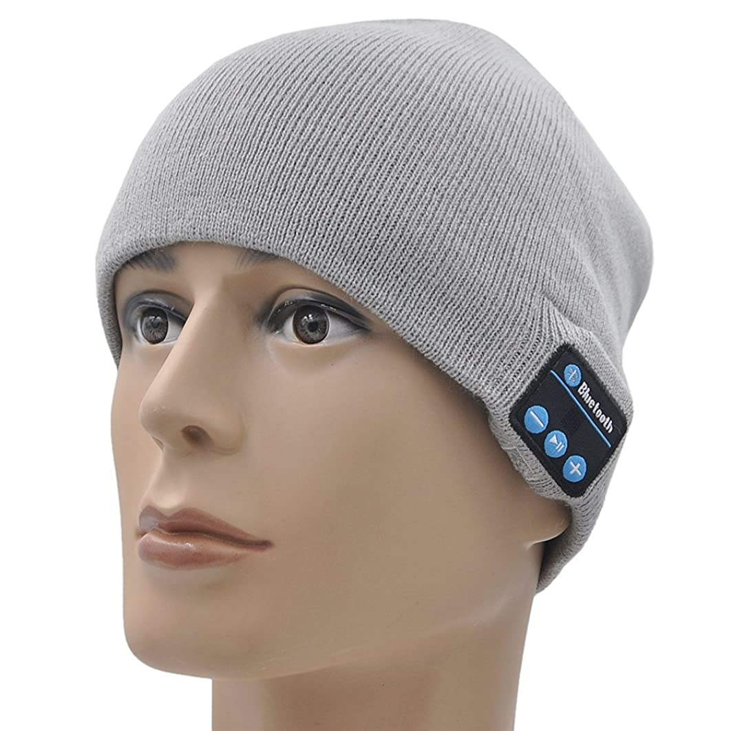 KAMII Outdoor Bluetooth Beanie Hat Wireless Bluetooth Headphone Headset Earphone Stereo Speakers & Mic for Outdoor Sports, Running, Walking, Christmas Gifts (Gray)