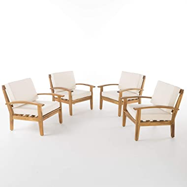 Christopher Knight Home Peyton Outdoor Wooden Club Chairs with Cushions, 4-Pcs Set, Teak Finish / Beige