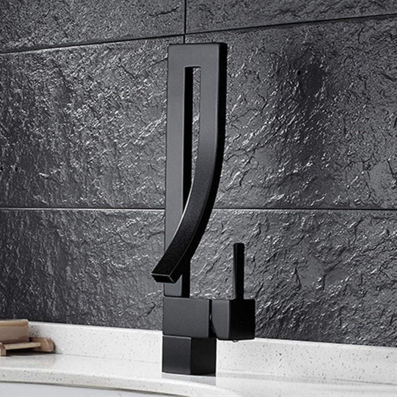Kai&Guo Design Massivem Messingbronze Küchenarmatur mit Einhand-Bad-Waschtischarmaturen schwarz,