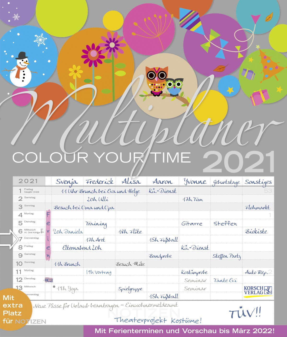 Download Multiplaner - Colour Your Time 2021: Familienplaner, 7 Breite Spalten 