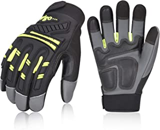Vgo 3Pairs High Dexterity Water Repellent Goat Leather Heavy Duty Mechanic Glove,Rigger Glove,Anti-Vibration,Anti-Abrasion,Touchscreen (Size L,Green,GA8954)