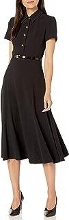 Women's Short Sleeve Collared Button Front a Line Dress
