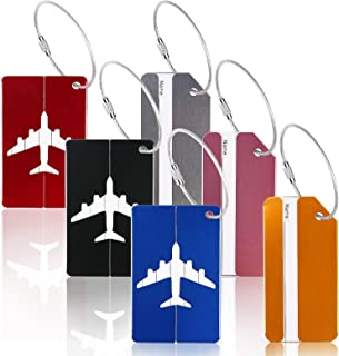 Luggage Tags,ZoomSky 6 Pack Aluminum Strip and Airplane