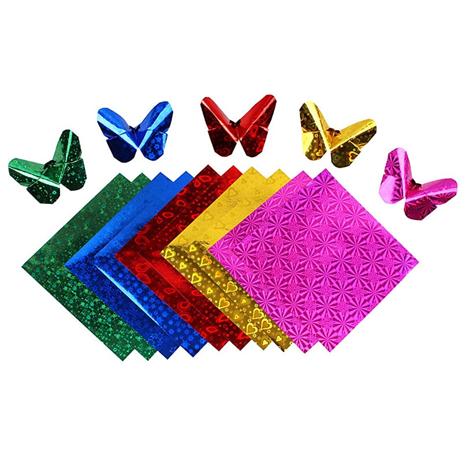 Naimo Shiny Holographic Laser Origami Paper - 50 Sheets - 5 Colors - Square Easy Fold Paper for Beginner