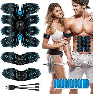 【改良モデル 12枚ジェルシート付き】 EMS 腹筋ベルト USB充電式 液晶表示 腹筋トレーニンダイエット器具 8種類モード 15段階強度 お腹 腕 腿 腰 多部位対応 男女兼用 日本語説明
