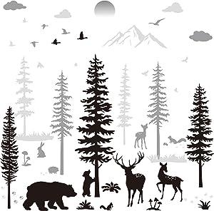 Nursery Wall Decals Forest Deers Wall Stickers Bear Pine Tree Wall Decals Mural Art Wallpaper for DIY Children Room Nursery Vinyl Removable Decals