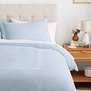 amazonbasics Premium Embroidered Hotel Stitch Duvet Cover Set - Twin or Twin XL, Dusty Blue