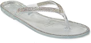 H2K 'Crave' Women's Jelly Flat Flip-Flop [Thong Sandal] Shoes with Rhinestone & Bead Embellished Strap