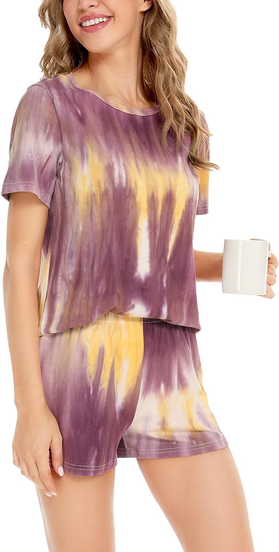 SWOMOG Womens Tie Dye Printed Pajamas Set Cotton Sleepwear Short Sleeve Tee and Shorts 2 Piece PJ Set Loungewear