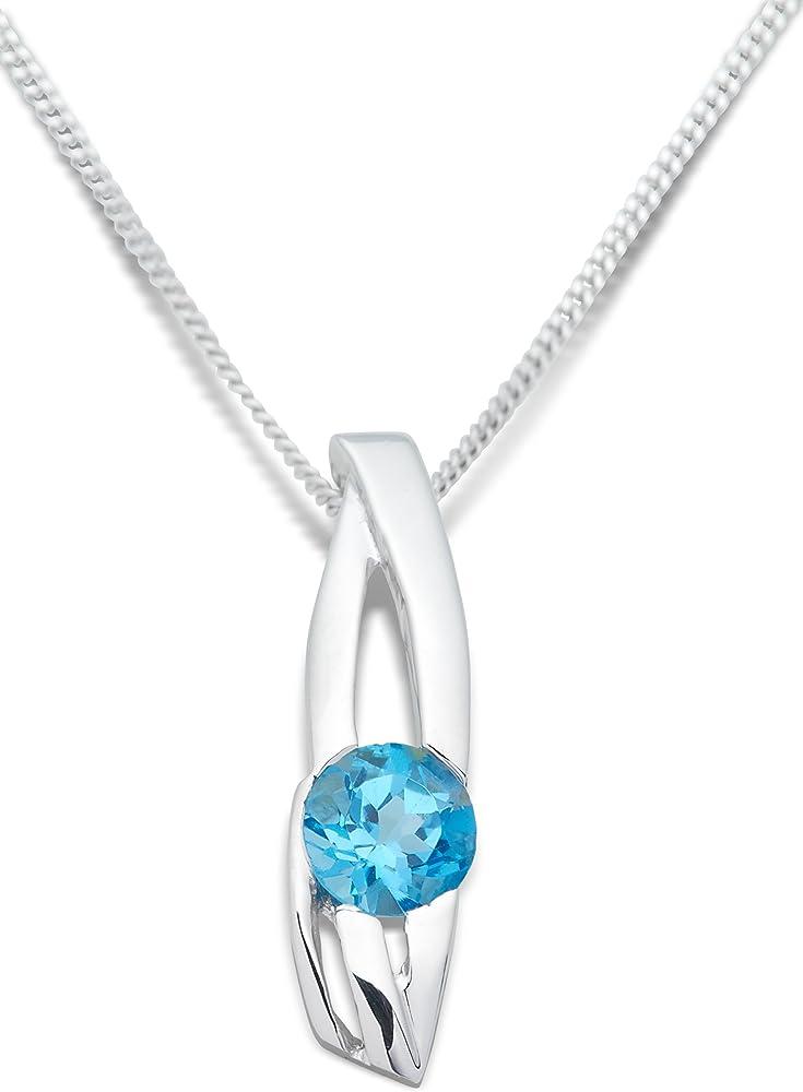 Miore, collana da donna in oro bianco 9kt /375(2,16 gr),con ciondolo con topazio blu 0,52 ct MH9019N