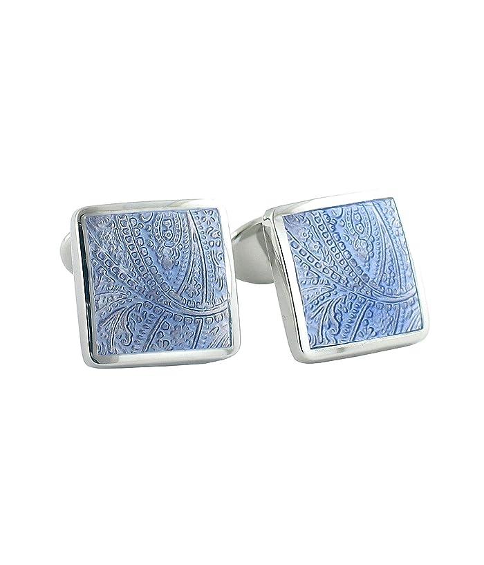 David Donahue  Light Blue Paisley Cuff Links (Silver) Cuff Links