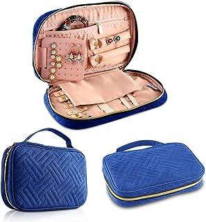 Jian Ya Na Travel Jewelry Storage Bag Women Multi_Functional Jewelry Storage Box for Necklace Earrings Rings Bracelets Watches Girls Portable Jewelry Case (Blue)
