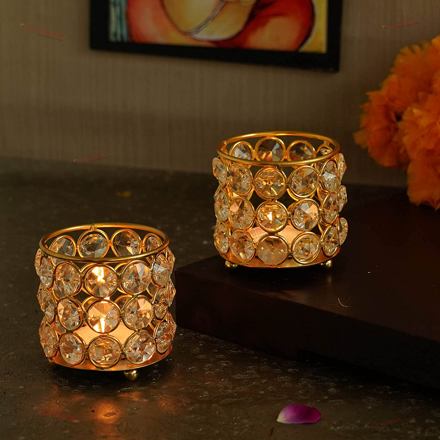 TIED Bombing new work RIBBONS Crystal Tealight Candle - Home for Décor free Holder