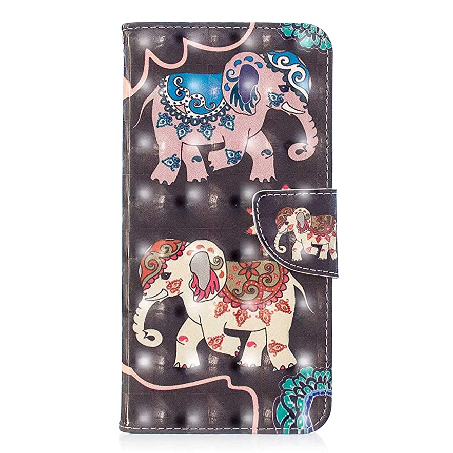 後原点ただやるZeebox? Xiaomi Redmi Note 5 ケース, 軽量 高級感 PUレザー 薄型 財布型人気 花柄カバー 耐摩擦 耐衝撃 360°保護 財布型 ケース, 付きスタンド機能 カード収納付, 二頭の象