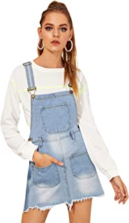 Milumia Women's Casual Denim Bib Overall Dress Adjustable Strap Dress