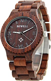 Men's Wooden Watch Made of Real Natural Wood,Retro Style Lightweight Eco-Friendly Handmade Ebony Wood Wrist Watches Fit for Gift (Red Sandalwood)