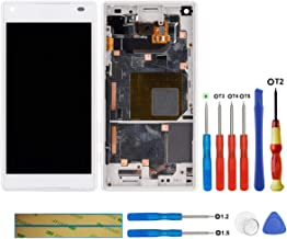 swark LCD Display Compatible with Sony Xperia Z5 Compact E5803 E5823(White + Frame Touch Screen Display + Tools