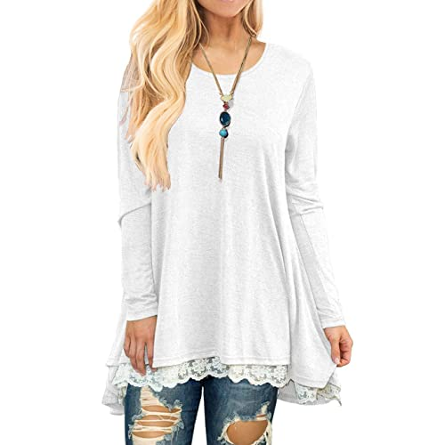 38465d2c72804 QIXING Women s Lace Long Sleeve and Short Sleeve Tunic Top Blouse