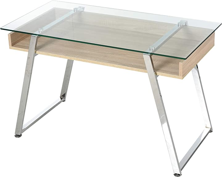 Scrivania da computer di design con piano in vetro temperato di 9mm e telaio in legno e acciaio homcom IT836-193V010631