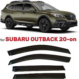 olltoz Tape-On Dark Tinted Side Window Visor Deflectors Vent Rain Guards Compatible with Subaru Outback 2020-2021 Premium,...