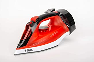 Joya Steam Iron with Ceramic Soleplate (2400W) | Overheat safety protection | Powerful Burst of Steam | Red & Black