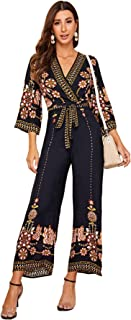 Women's Floral Embroidery Belted Wrap Wide Leg Jumpsuit...