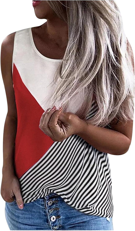 Womens Summer Tops Women's Casual Splicing Crewneck Sleeveness Tops Loose Vest Blouses Juniors Girls