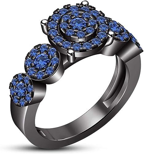Vorra Fashion Blau Erstellt Saphir Luxus Halo Design Damen-Ring Verlobungsring schmuck