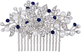 EVER FAITH Silver-Tone Crystal Simulated Pearl Bridal Flower Leaf Vine Hair Comb