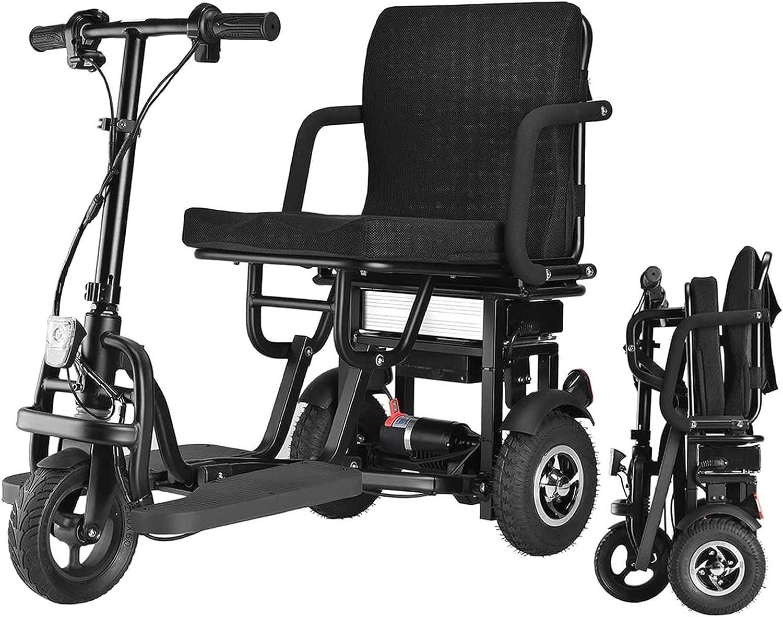 Scooter eléctrico plegable de 3 ruedas con motor de 350W, velocidad de 15KM/H y 40-50KM Sillas de ruedas motorizadas portátiles ligeras de largo alcance para personas mayores Scooters de movilidad