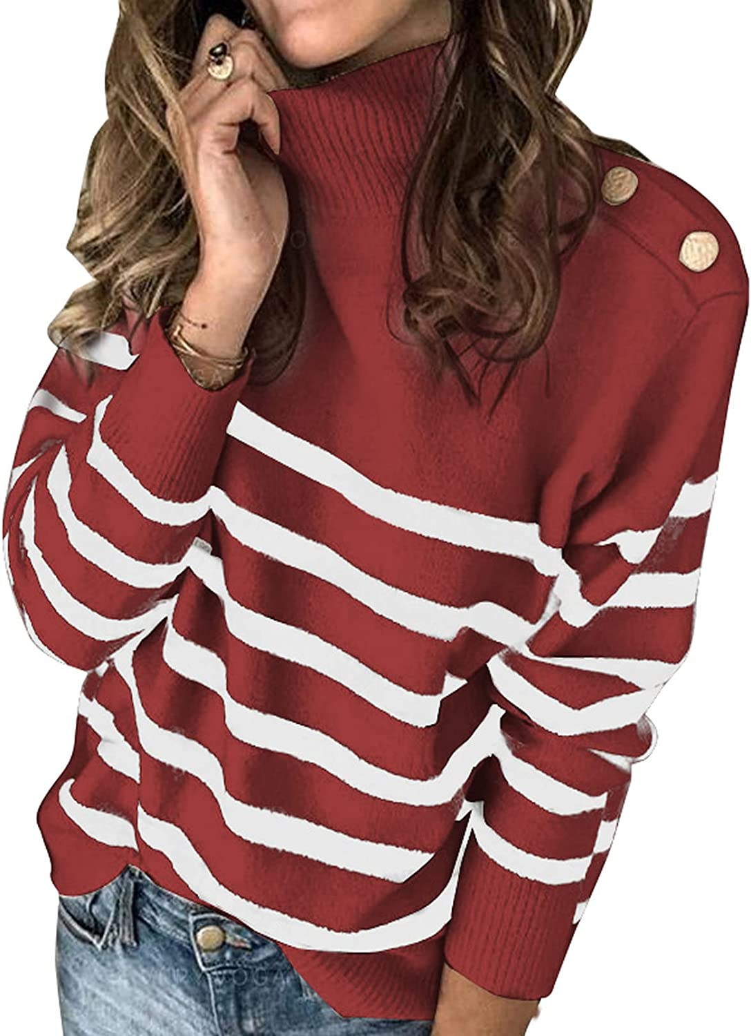 Actloe Womens Turtleneck Sweaters Button Deco Long Sleeve Color Block Stripe Pullover Sweater Knit Jumper Tops