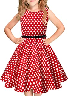 Girls Vintage Dress Sleeveless Swing Party Dresses with Belt 5-12 Years