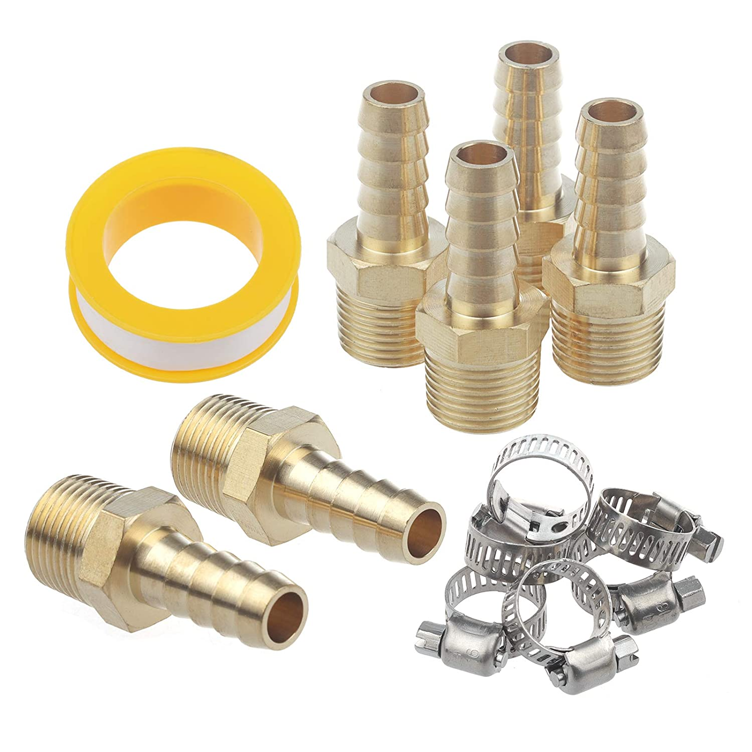 Jwodo Brass Air Hose Fittings 13Packs Water Fuel Pipe Compressor Hose Connectors with 6Pcs Hose Clamp and 1Pc Teflon Tape 6Packs 1//2 Barb to 1//2 NPT Male Thread Pipe Adapters
