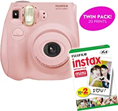 Fujifilm Instax Mini 7S Instant Print Camera (Renewed) Plus Twin Pack of Film Starter Bundle | 10 Sheets x 2 = 20 White Frame Instant Exposure Photograph Sheets (Light Pink)