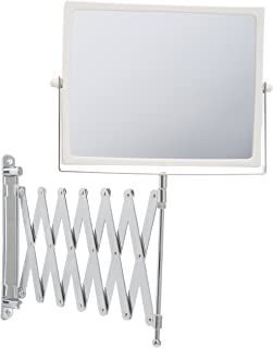 Jerdon J2020C 8.3-Inch Two-Sided Swivel Wall Mount Mirror with 5x Magnification, 30-Inch Extension, Chrome and White Finish