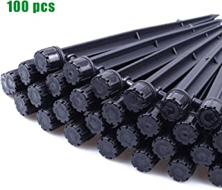 MIXC 100PCS Drip Emitters Sprayer with Stake Water Flow Adjustable for 1/4 inch Irrigation Tube Hose, 360 Degree Dripper Perfect for Irrigation System Watering Kits for Garden Patio Lawn Flower Bed