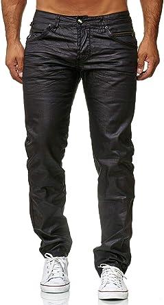 ArizonaShopping Pantalones Hombre Negro Recubierto Slim Fit Coated Waxed