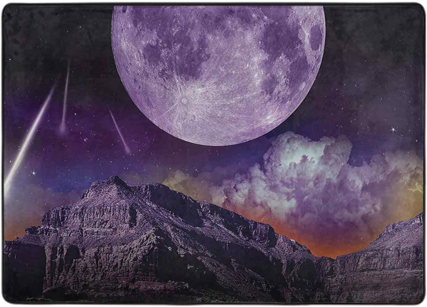 Area Rug Bedroom Fantasy SEAL limited product Dark Night Cosmos New popularity Earth in Plan Galaxy