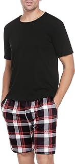 Aibrou Mens Pajama Set Plaid Short Sleeve Top & Pants Cotton Pjs Sets Sleepwear